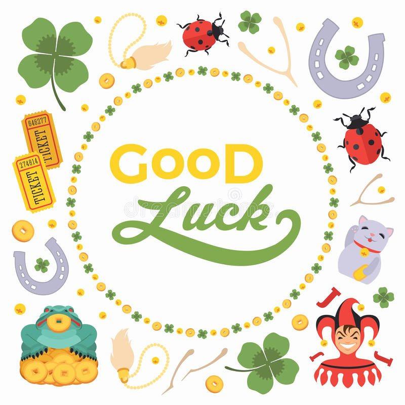 Good Luck Card Template Elegant Vector Decorating Design Made Lucky Charms and Stock