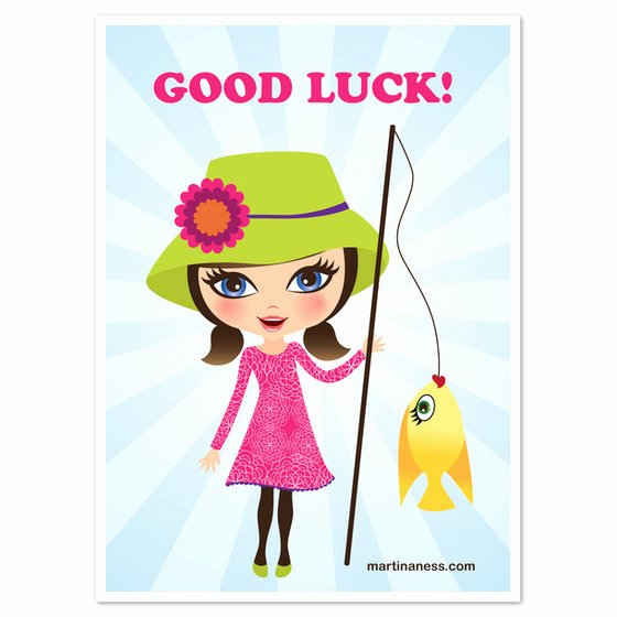 Good Luck Card Template Unique Good Luck Girl with Golden Fish Invitations & Cards On