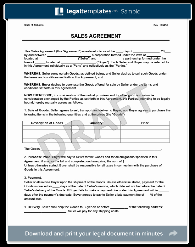 Goods Purchase Agreement Template Awesome Sales Agreement Create A Free Sales Agreement form