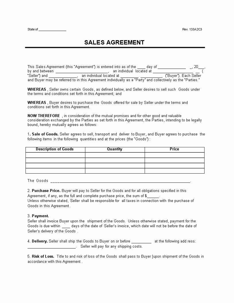 Goods Purchase Agreement Template Elegant Free Sale Goods Contract Template