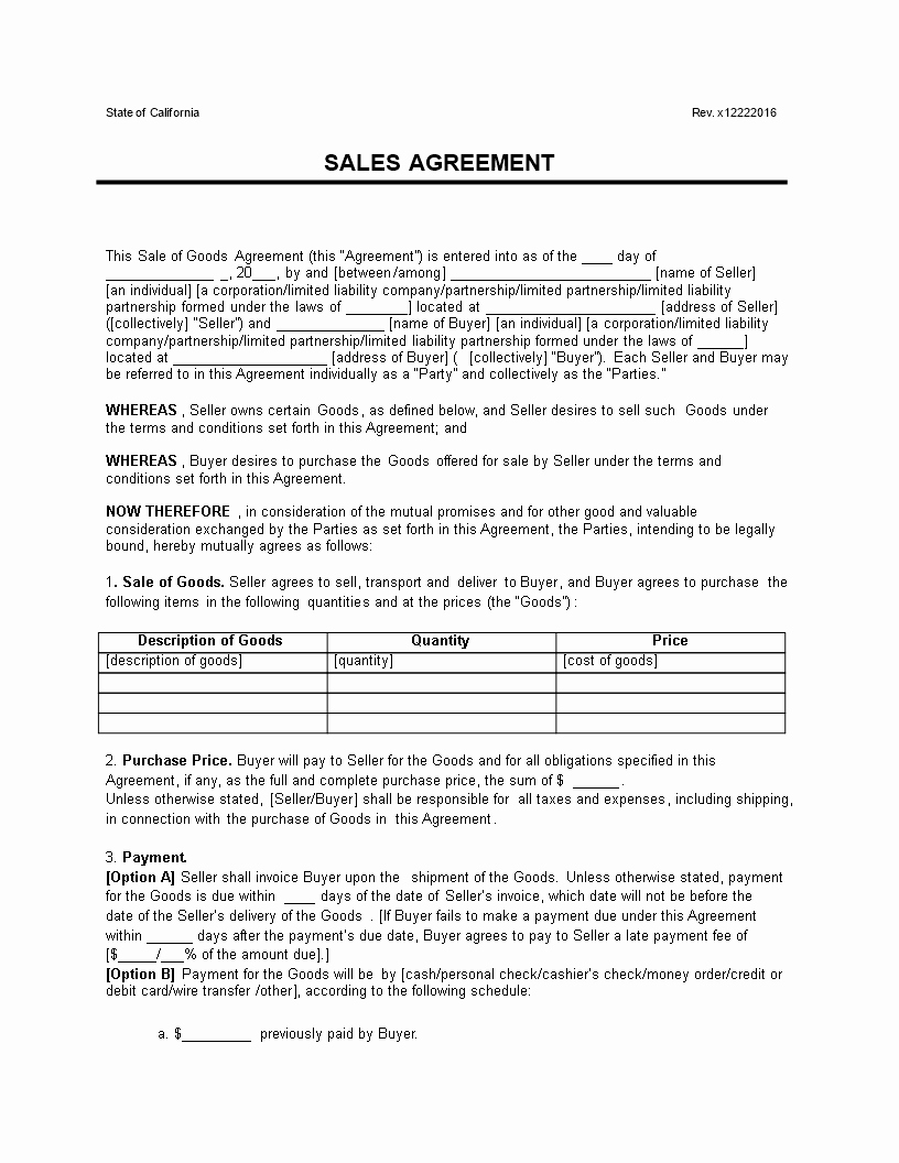 Goods Purchase Agreement Template Inspirational Free Contract for the Sale Goods