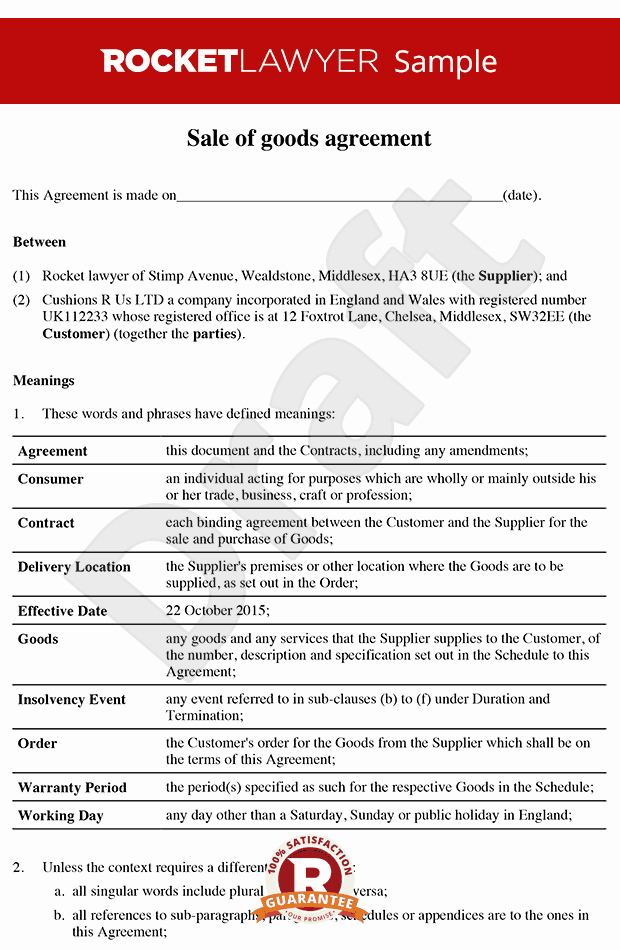 Goods Purchase Agreement Template Lovely Sale Of Goods Agreement B2b Sale Of Goods Contract