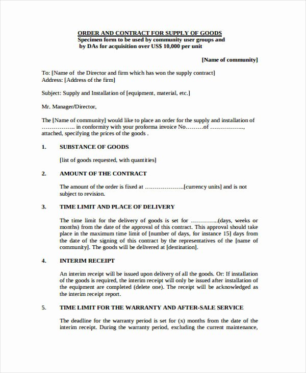 Goods Purchase Agreement Template New 8 Supply Contract Templates Free Word Pdf format