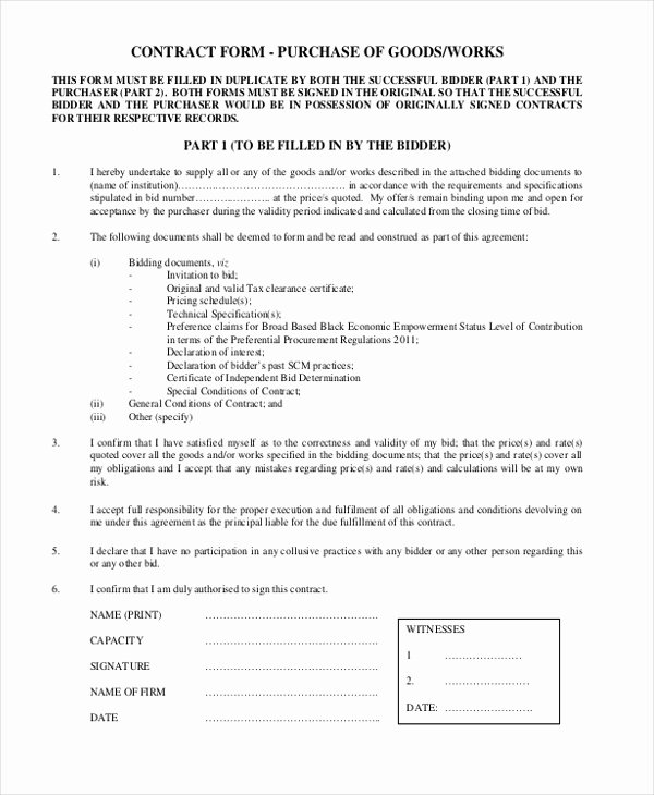 Goods Purchase Agreement Template Unique Sample Contract form 8 Free Documents In Word Pdf