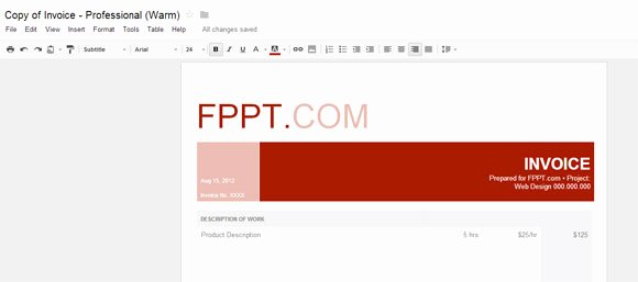 Google Doc Invoice Template Lovely Warm Professional Invoice for Google Docs