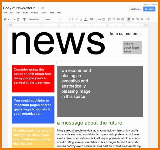 Google Doc Newsletter Template Fresh Google Docs Newsletter Template