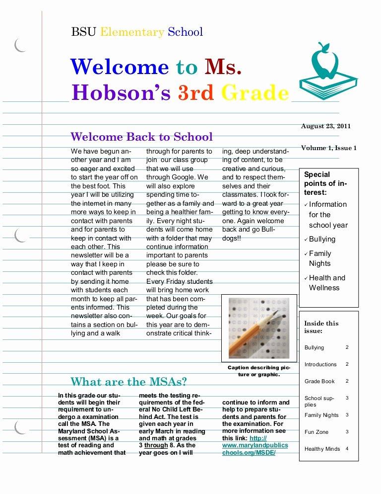 Google Doc Newsletter Template Fresh Hobson Back to School Newsletter