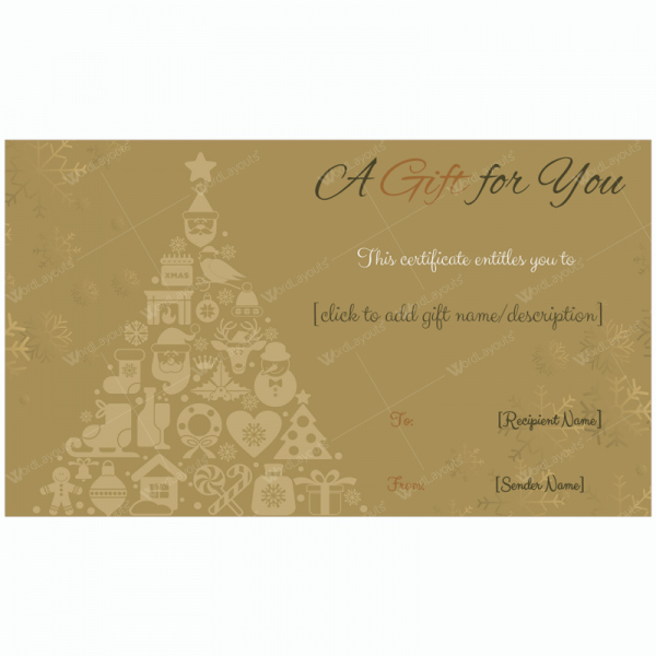 Google Docs Certificate Template Lovely Golden Trees Christmas Gift Card Template Word Layouts