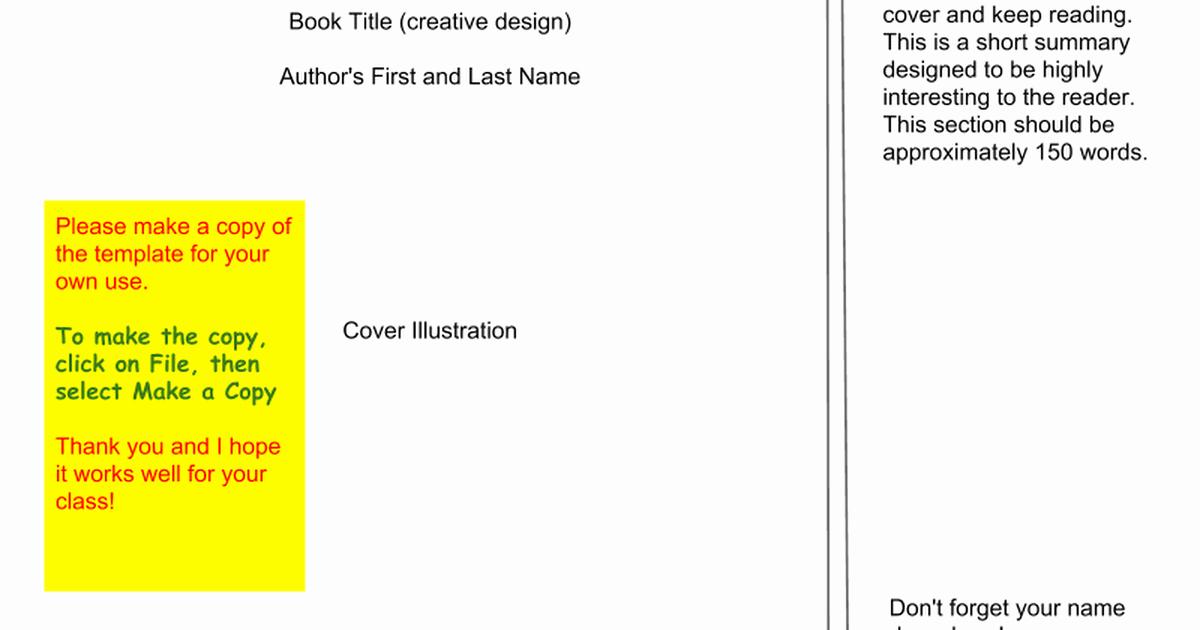 Google Docs Cookbook Template Best Of Book Jacket Template Google Slides