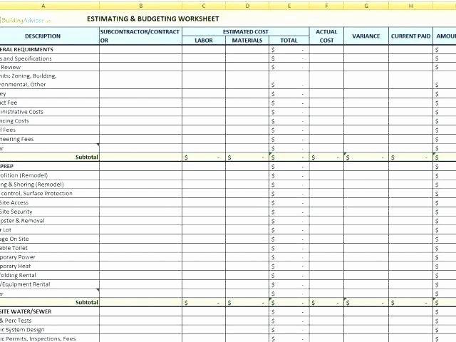 Google Docs Estimate Template Fresh Subcontractor Quote Template Building Materials Cost