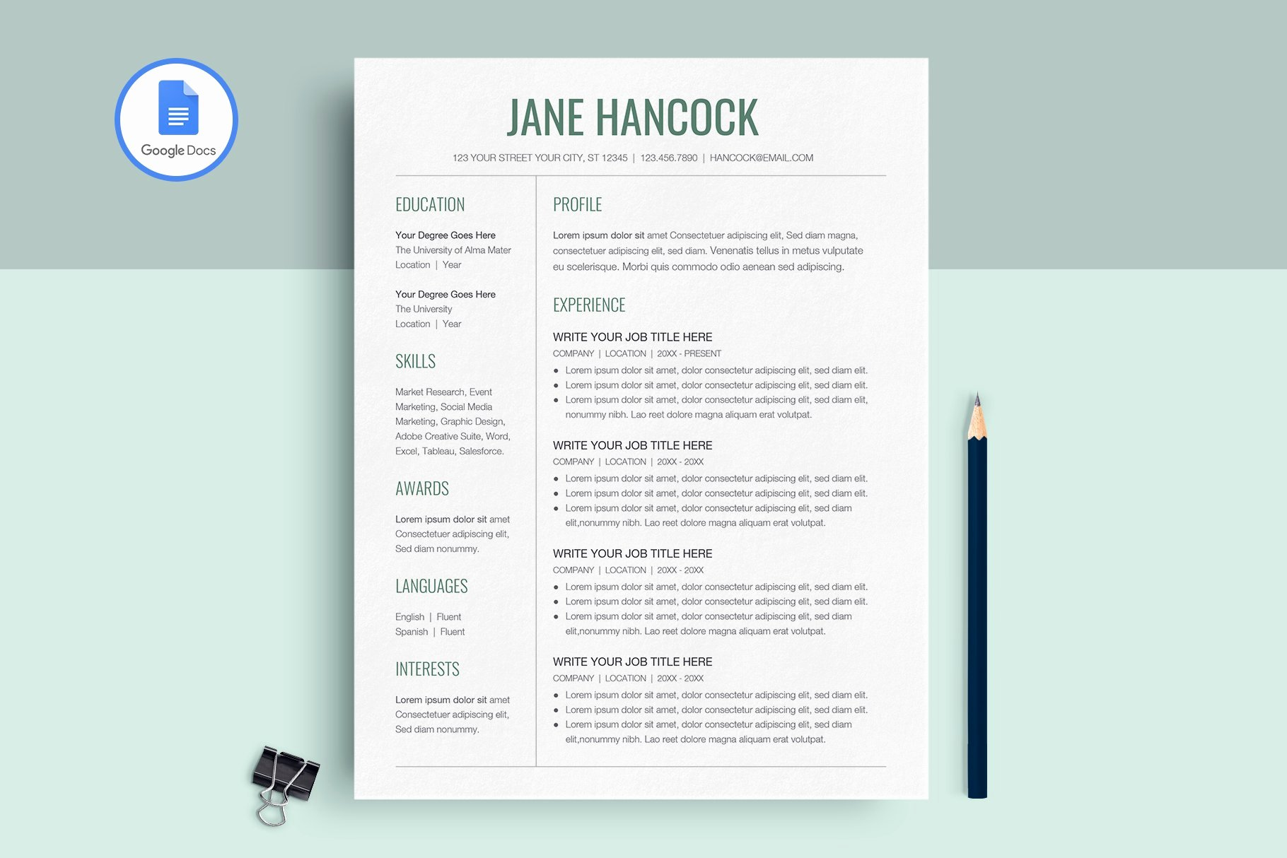 Google Docs Magazine Template Luxury Google Docs Resume Template Resume Templates Creative