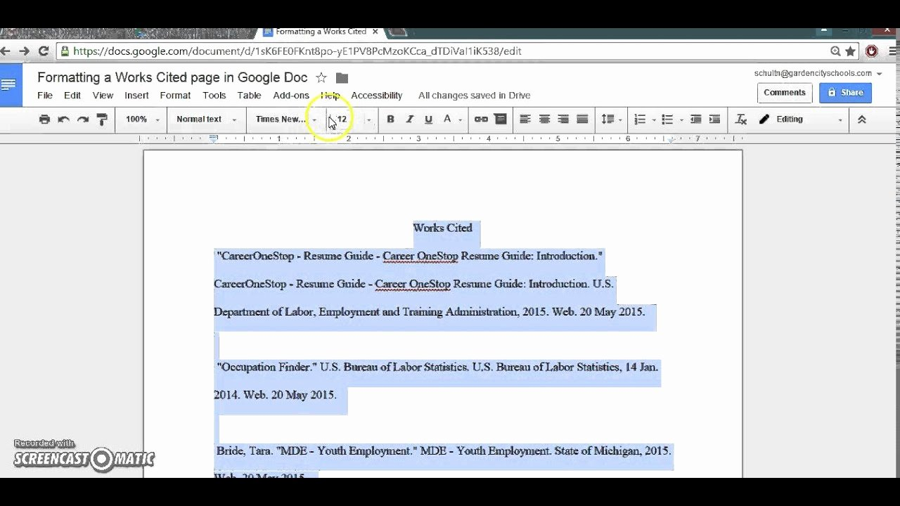 Google Docs Mla Template Beautiful formatting Google Doc Mla Works Cited Page