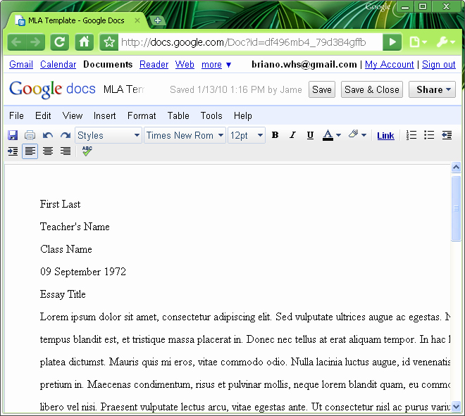 Google Docs Mla Template Best Of Mla format Mla Template In Word 2007