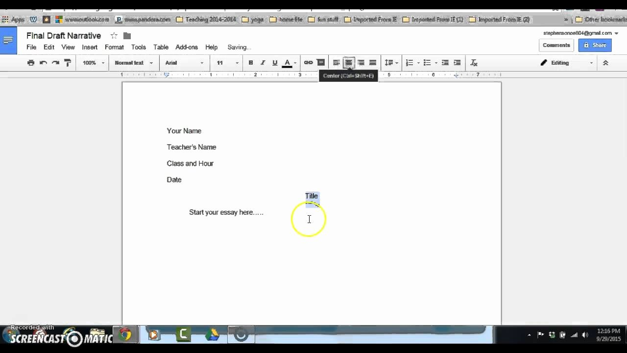 Google Docs Mla Template Elegant Mla format with Google Docs