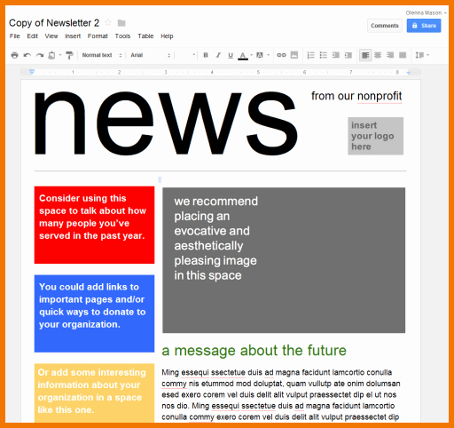 Google Docs Newsletter Template Luxury Google Doc Template Newsletter