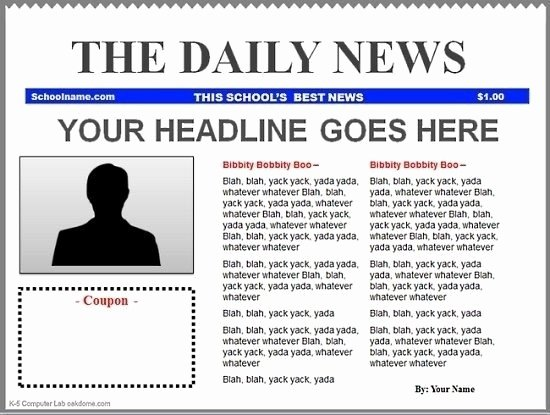 blank newspaper template google docs