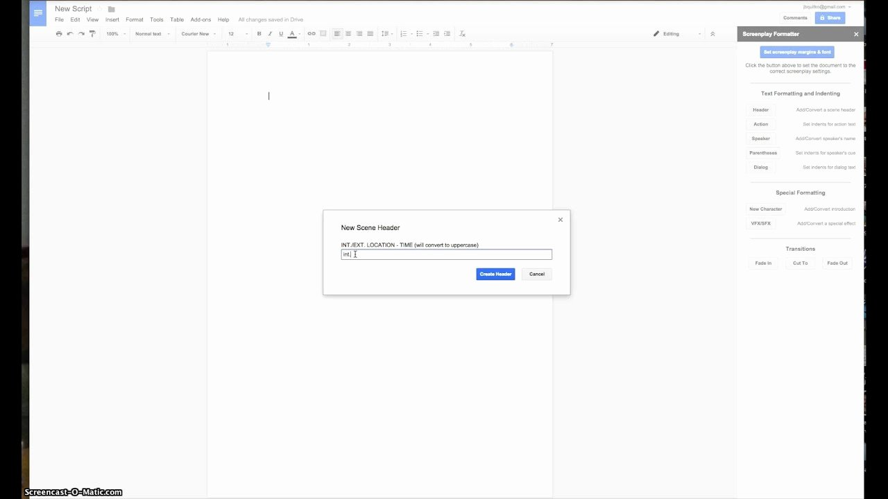 Google Docs Screenplay Template New Screencast Of 2 Minutes Of Screenplay formatter
