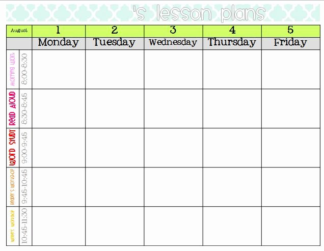 Google Lesson Plan Template New Weekly Lesson Plan Template Google Search