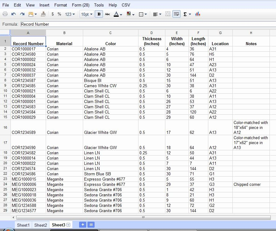 Google Sheets Inventory Template Lovely Using Google Documents Spreadsheets for Inventory Tracking