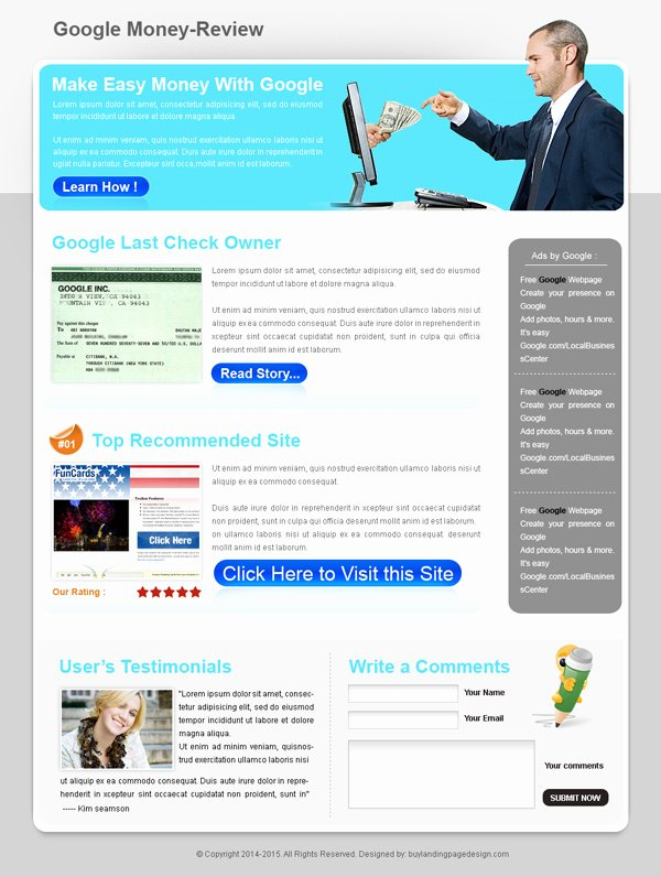 Google Web Designer Template Awesome Google Money Review Landing Page 005