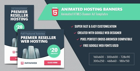 Google Web Designer Template Beautiful Animated Hosting Banners Preview Google Web Designer