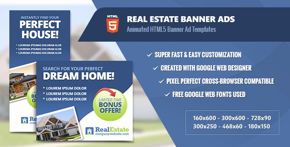 Google Web Designer Template Luxury Real Estate Banner Ads HTML5 Animated by Infiniweb