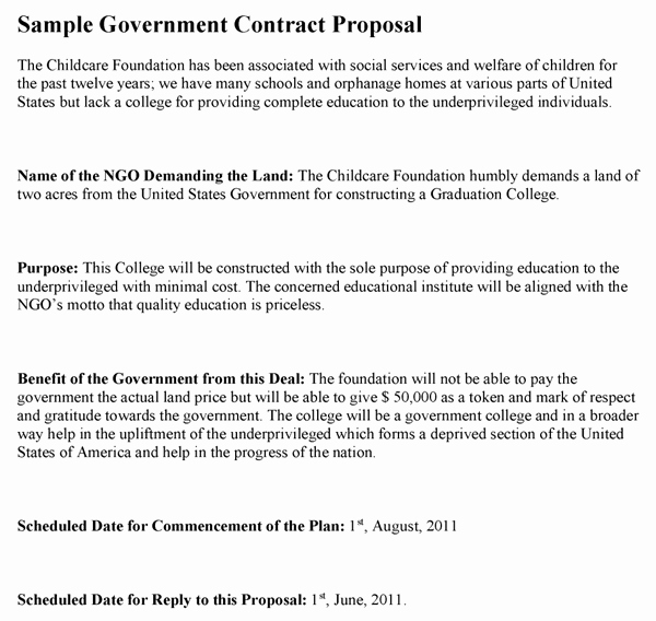 Government Contract Proposal Template Best Of Government Contract Proposal Template