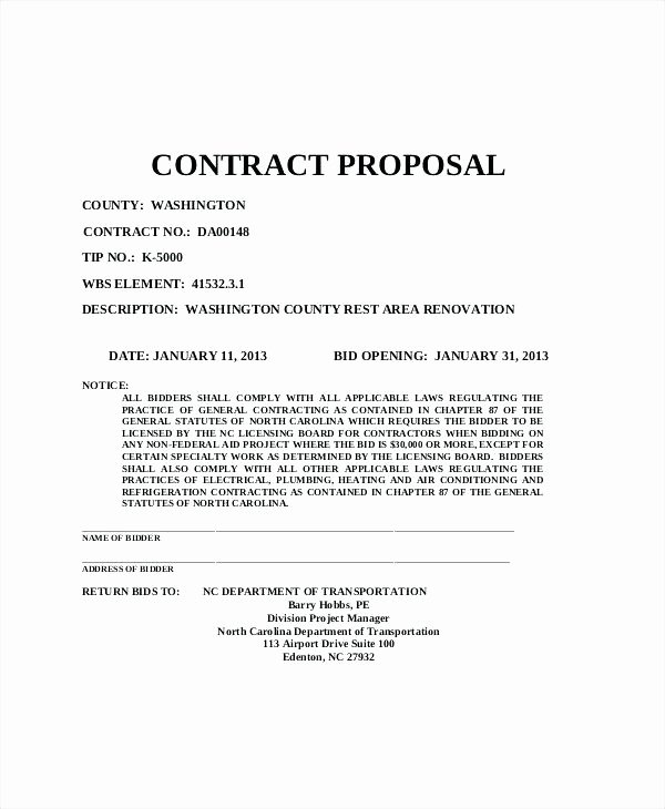 Government Contract Proposal Template Fresh Contract Proposal Sample
