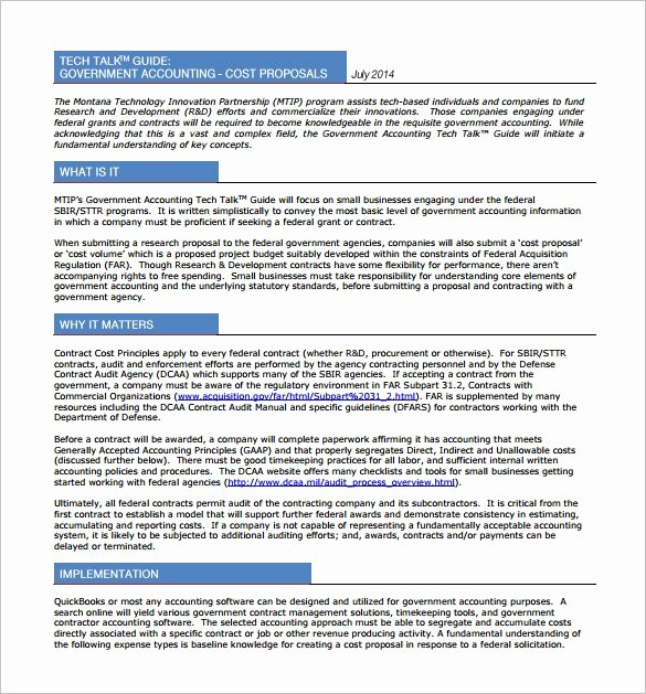 Government Contract Proposal Template Lovely Cost Proposal Template 14 Free Word Excel Pdf format