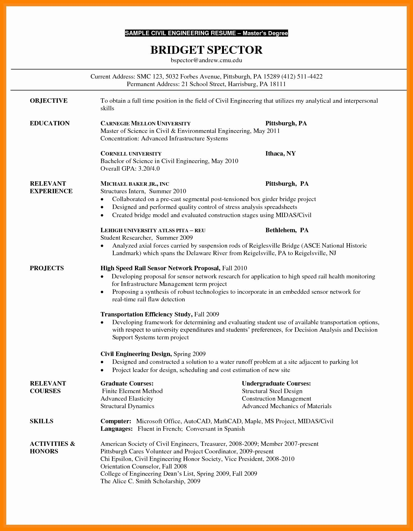 Grad School Resume Template Inspirational Elegant Resume Graduate School Sample Eviosoft