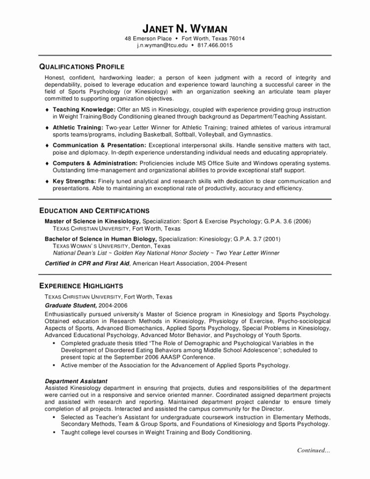 graduate school application resume template