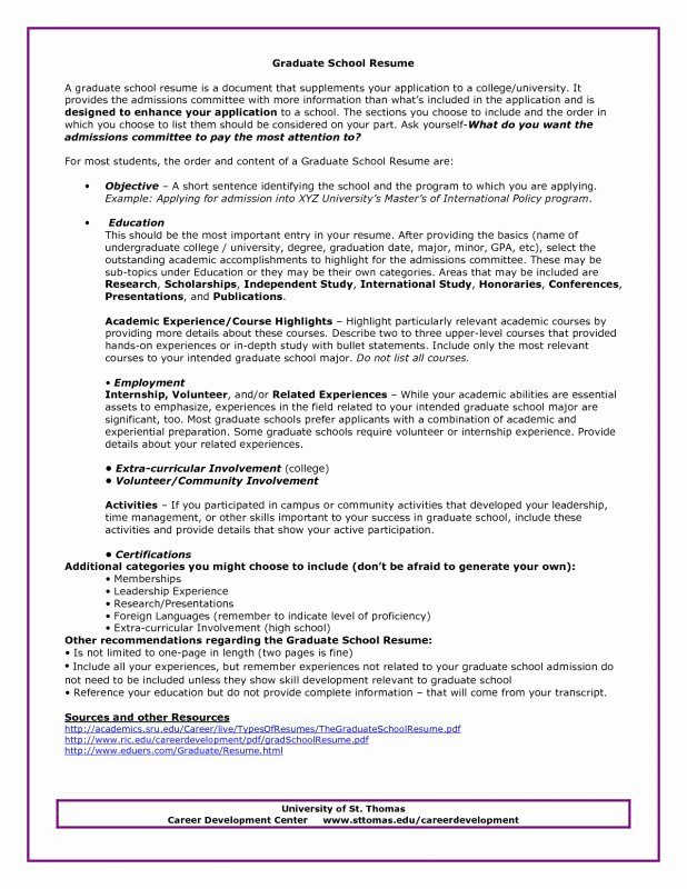 Grad School Resume Template Unique Graduate School Sample Resume Best Resume Collection