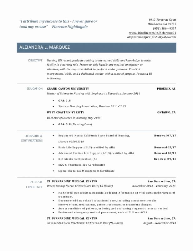 Graduate Nurse Resume Template Awesome Resume Examples Recent Graduate Resume for Recent
