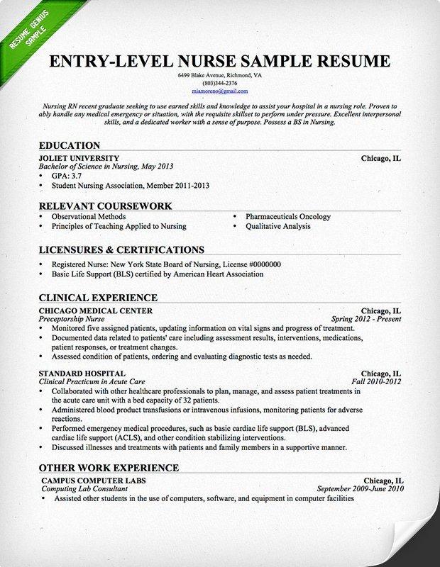 Graduate Nurse Resume Template Beautiful Entry Level Nurse Resume Sample