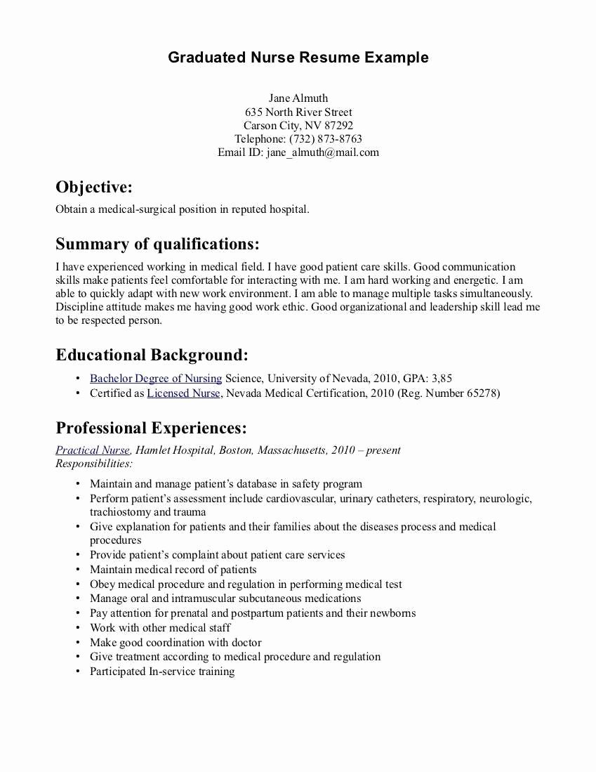 Graduate Nurse Resume Template Best Of Medical New Graduate Nurse Resume Sample Hd Wallpaper