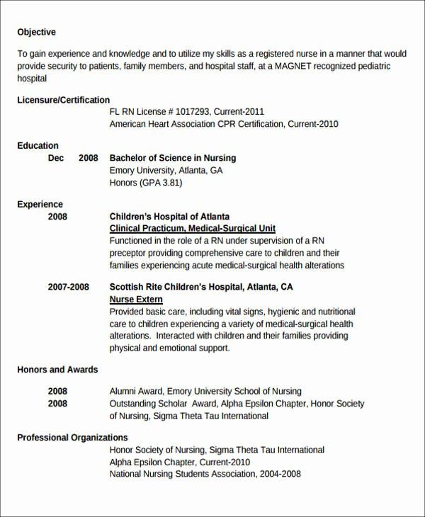 Graduate Nurse Resume Template Inspirational 7 Sample New Nurse Resumes