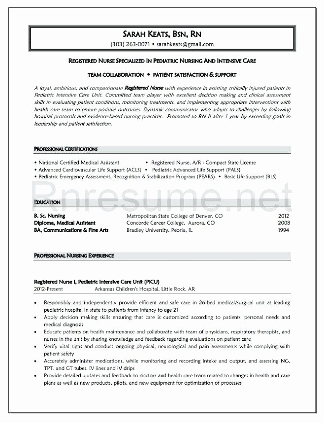 Graduate Nurse Resume Template Inspirational Objective Nursing Resume New Graduate Examples for