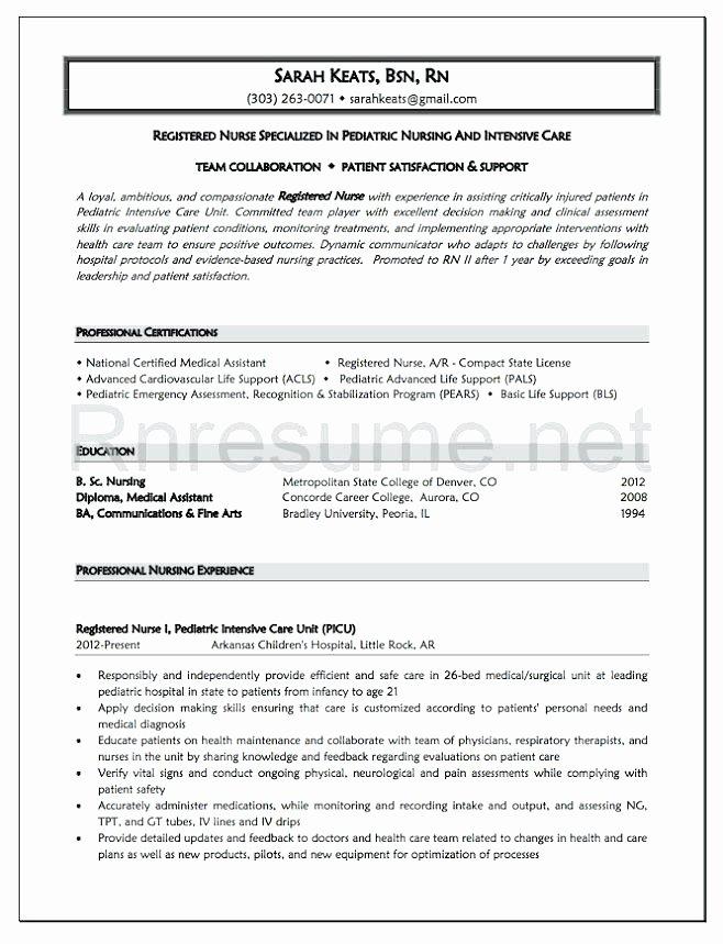 Graduate Nurse Resume Template Inspirational Objective Nursing Resume New Graduate Examples for