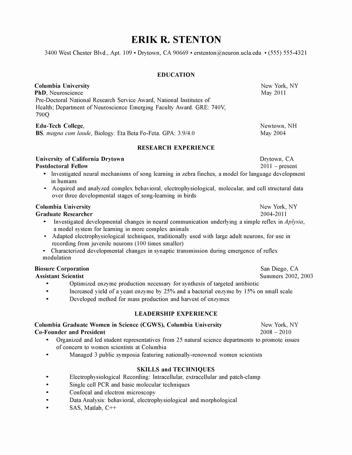 Graduate School Cv Template Awesome 3 4 Sample Cv for Graduate School Admission