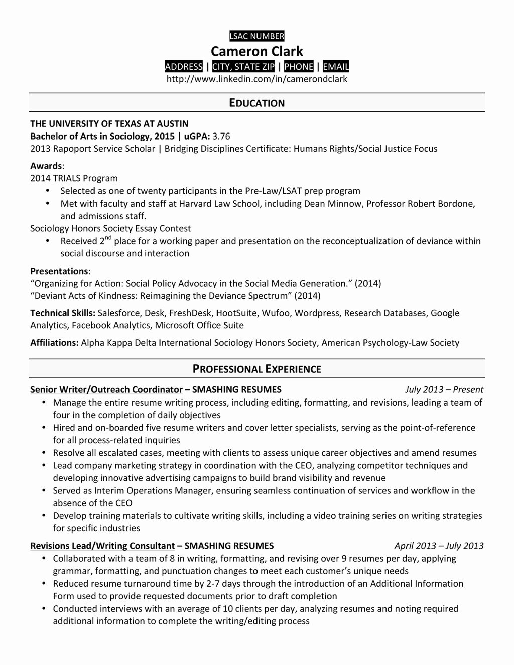 Graduate School Cv Template Awesome A Law School Resume that Made the Cut