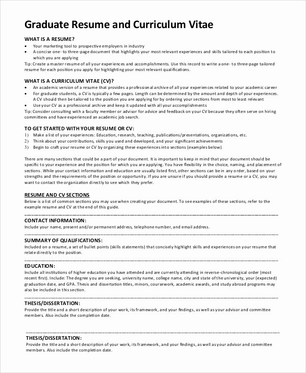 Graduate School Cv Template Fresh 9 Sample Graduate School Resumes