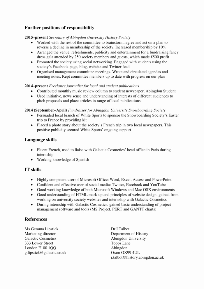 Graduate School Cv Template New How to Write A Graduate Cv Template Examples