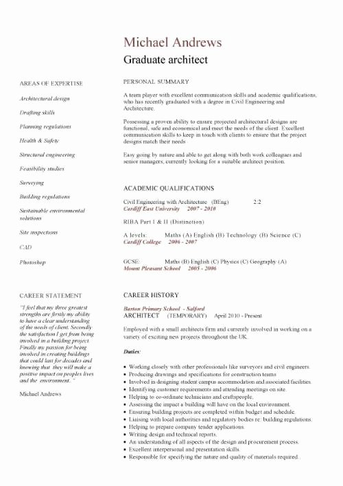 Graduate School Cv Template Unique Graduate Cv