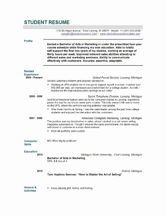 Graduate School Resume Template New Student Resume Templates Student Resume Template