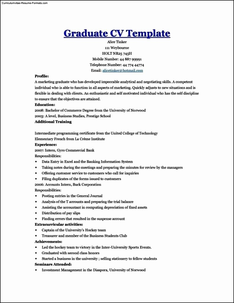 Graduate School Resume Template Unique Resume Templates for Graduate Students Free Samples