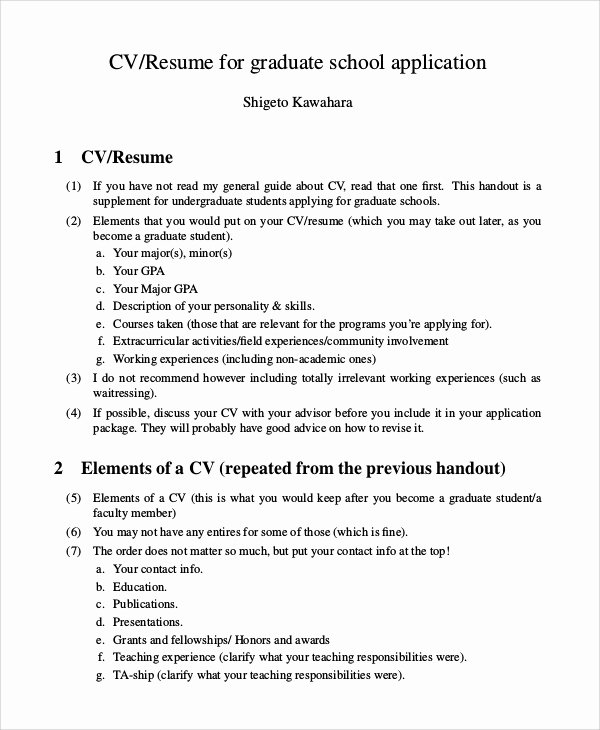 Graduate Student Resume Template Awesome 9 Sample Graduate School Resumes