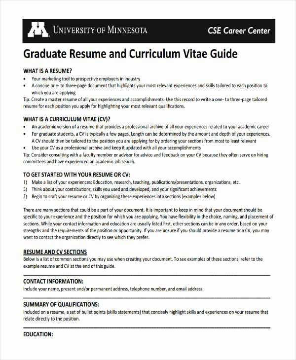 Graduate Student Resume Template Inspirational 10 Graduate Fresher Resume Templates Pdf Doc