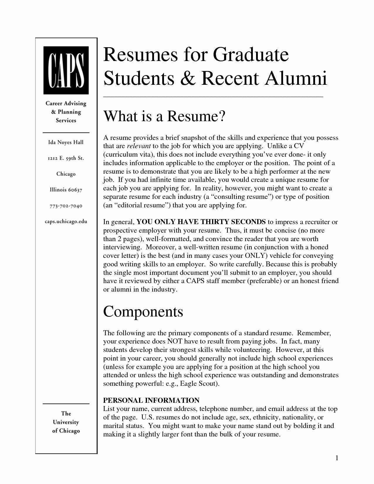 Graduate Student Resume Template Inspirational 15 Beautiful Grad School Resume Example Ve Aful