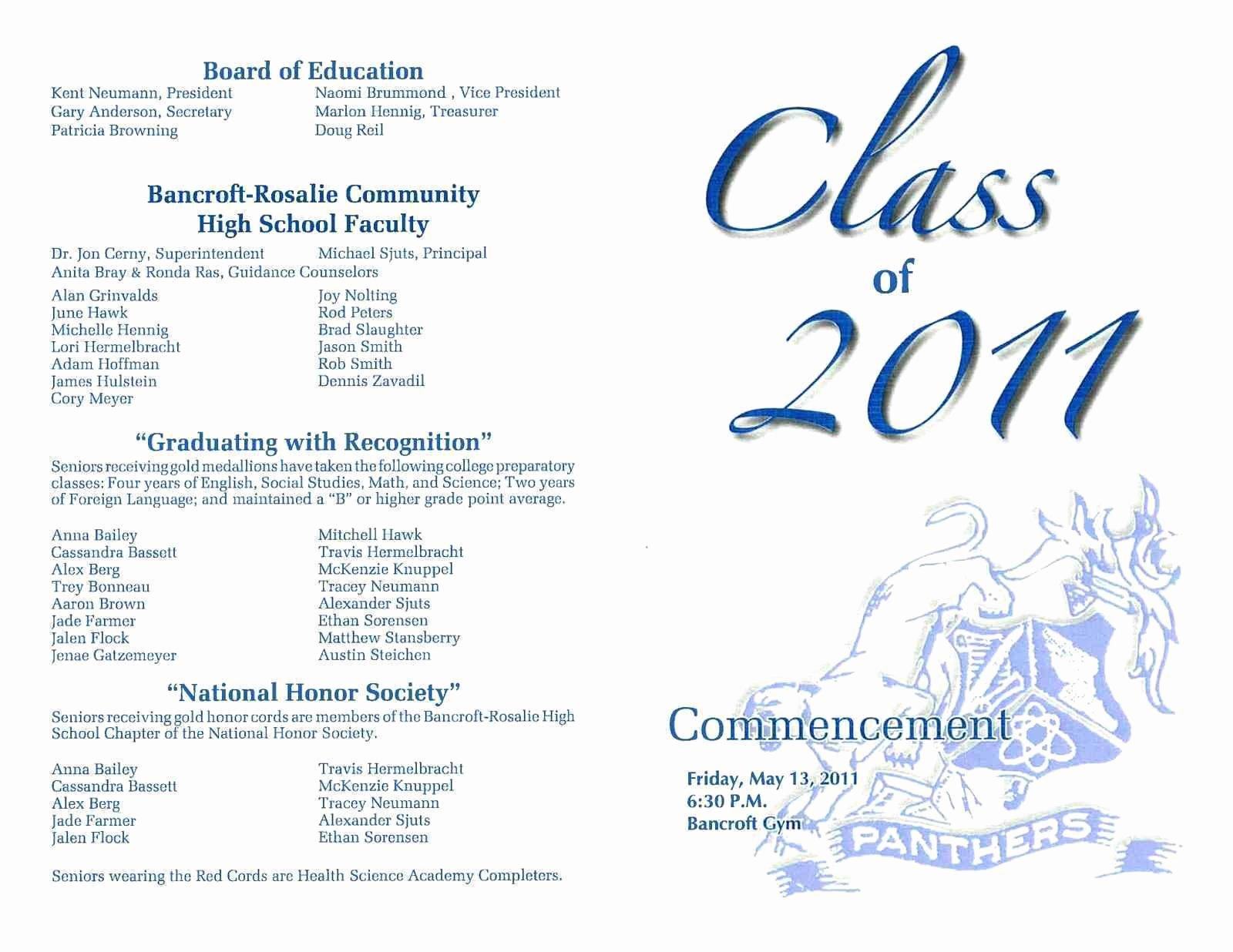 Graduation Ceremony Program Template Awesome Graduation Brochure Templates Fresh Preschool Graduation