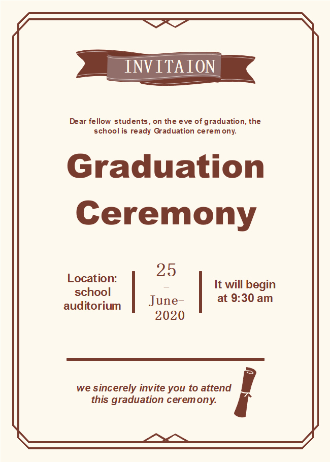 Graduation Ceremony Program Template Awesome Graduation Ceremony Invitation